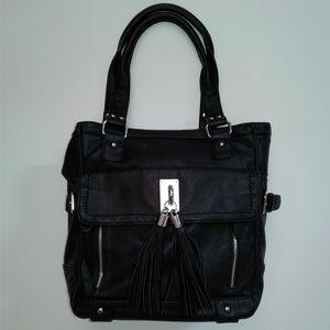 Melie Bianco Black Vegan Leather Tassel Tote